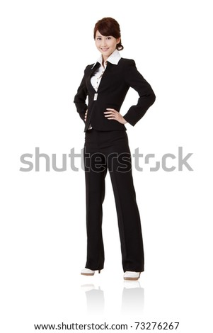 Successful executive woman  with smiling expression, full length portrait isolated on white background. - stock photo