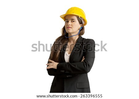 successful female engineer with safety helmet over white background - stock photo