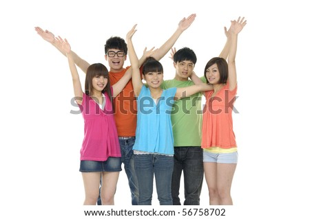 Successful friends standing against white - stock photo