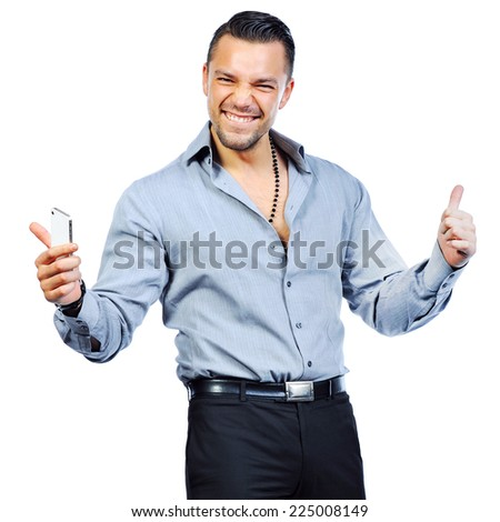 Successful gesturing man with mobile phone, isolated over white background - stock photo