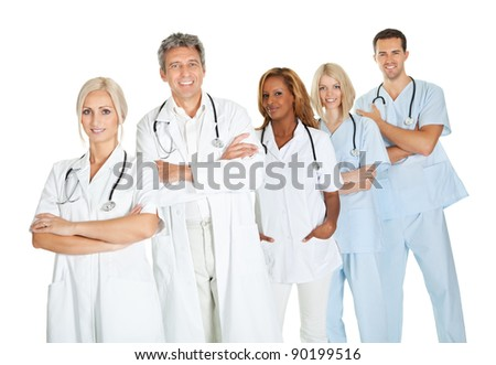 Successful group of doctors standing together isolated on white background - stock photo