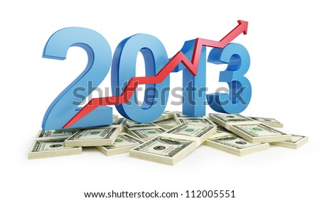 successful growth of profits in the business in 2013 - stock photo