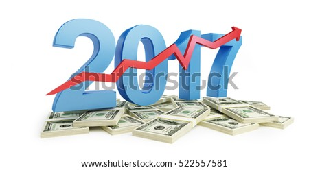 successful growth of profits in the business in 2017 3d Illustrations