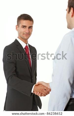 Successful handshake of business men on white background - stock photo