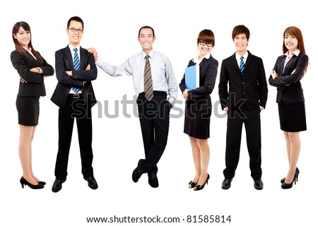 Successful happy asian business team - stock photo