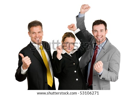 Successful happy business team celebrate their new success isolated on white background - stock photo