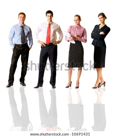 Successful happy business team, isolated on white - stock photo
