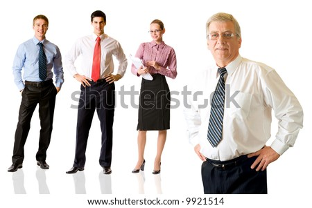 Successful happy business team, isolated on white. To provide maximum quality, I have made this image by combination of four photos. - stock photo