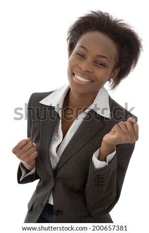 Successful happy isolated afro american black woman in business outfit.