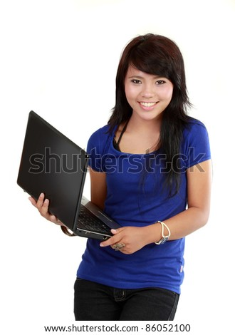 Successful happy woman with laptop - isolated on white