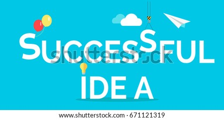 Successful idea web banner. Light bulb, crane hook, clouds, paper plane isolated flat s.  Business process. Teamwork and brainstorming concept. For creative company landing page