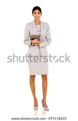 successful indian businesswoman holding tablet pc on white background - stock photo