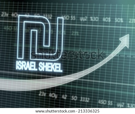 successful investmanet chart with a Israel Shekel icon on a stock market table with rising graph arrow