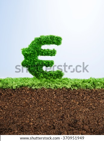 Successful investment concept with grass Euro symbol shape