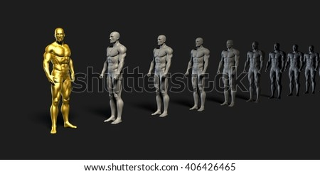 Successful Leader with Special Skills from the Team 3d Illustration Render - stock photo