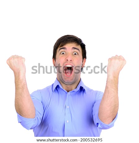 Successful man celebrating with arms up and shouting of joy isolated on white