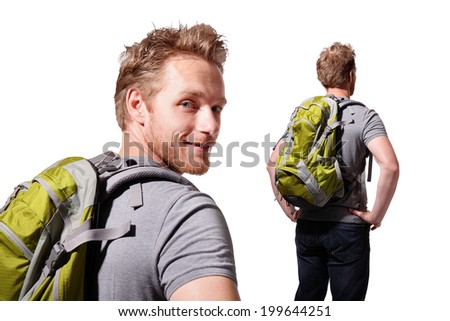 Successful man mountain hiker with backpack isolated on white background. caucasian - stock photo