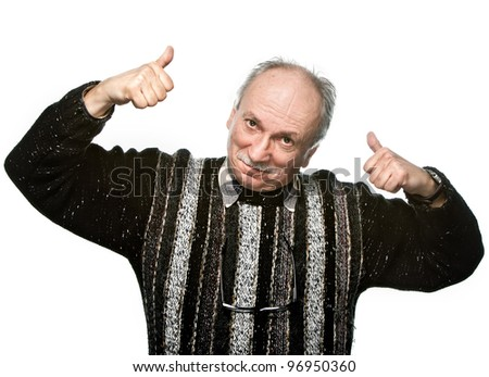 Successful man shows ok sigh on white background