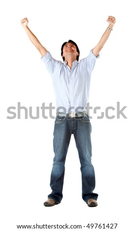 Successful man with arms opened isolated over a white background