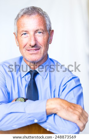 Successful mature handsome businessman portraited in his office - stock photo