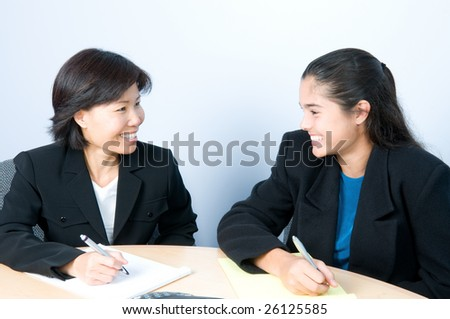 Successful meeting of two businesswomen