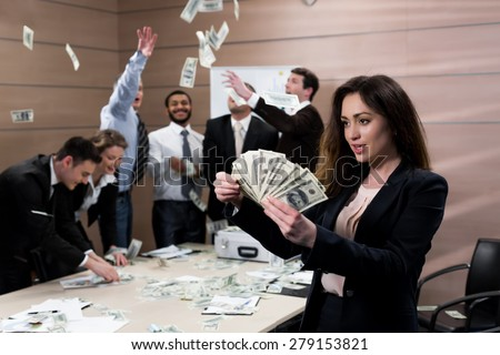 Successful people count  money. Businessman throwing money. Happy businessman.  - stock photo