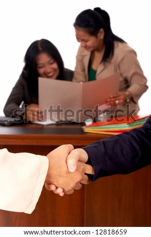 successful people shaking hands for the successful job