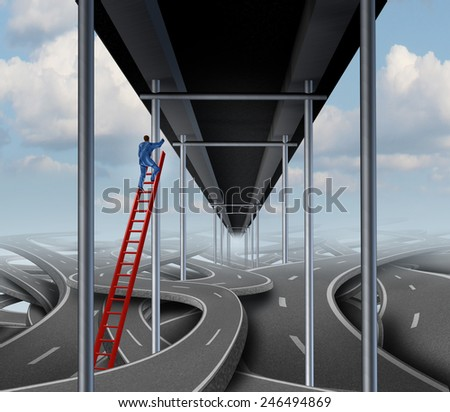 Successful person concept on a success path business symbol as a businessman climbing a red ladder out of confused tangled roads to a straight easy way bridge. - stock photo