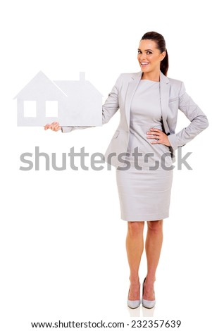 successful real estate agent holding paper house isolated on white background - stock photo