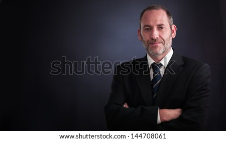 successful senior executive businessman smiling into the camera - stock photo