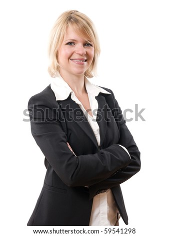 successful smiling businesswoman standing isolated on white - stock photo