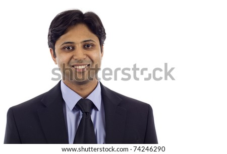Successful smiling young Indian business man isolated over white background - stock photo
