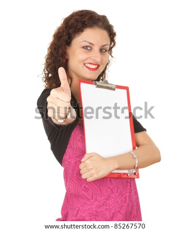 successful smiling young woman with clipboard and thumb up