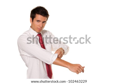 successful, strong and powerful tackle. roll up his sleeves. men's shirt. - stock photo