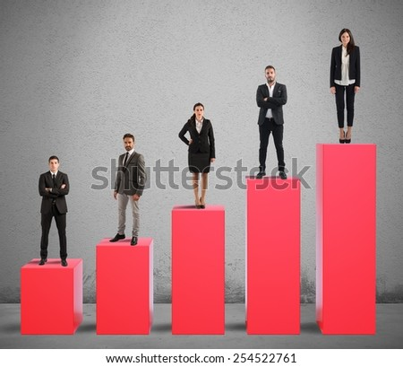 Successful team business cooperation for the company - stock photo