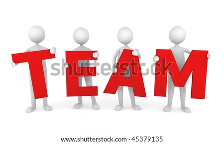 Successful Team. 3D people working as a team. Great concept depicting teamwork and cooperation. - stock photo