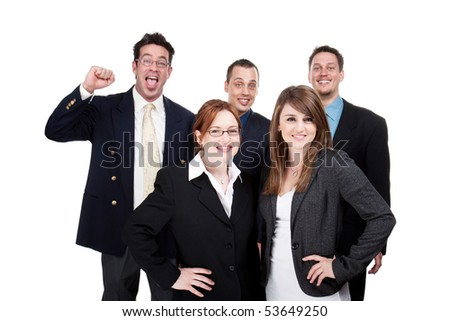 Successful team jumping for joy, isolated image