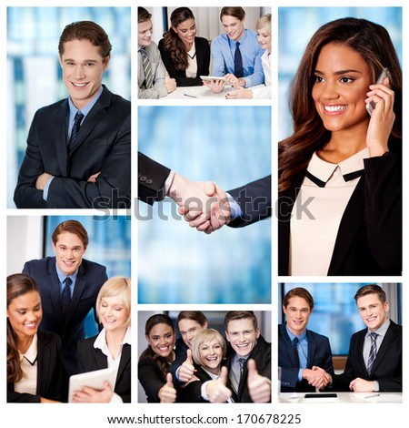 Successful team of business people, collage. - stock photo