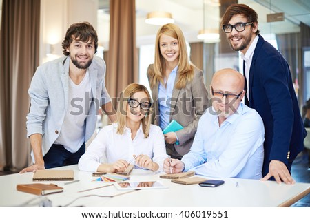 Successful team of design group - stock photo