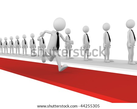 Successful Way. 3D concept depicting businessman choosing different and successful way - stock photo