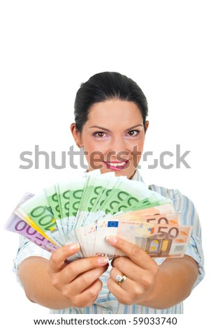 Successful woman giving you a lot of euro banknotes money isolated on white background,copy space for text message - stock photo