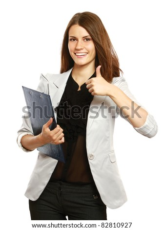 Successful woman isolated giving thumbs up sign and having a folder.