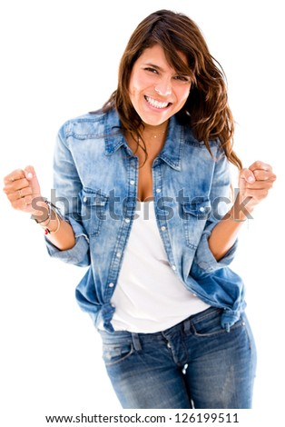 Successful woman looking very happy - isolated over a white backgorund - stock photo