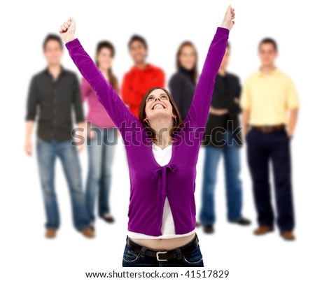 successful woman with a group of casual people smiling and standing isolated over a white background - stock photo