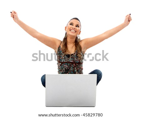 Successful woman with a laptop isolated over a white background - stock photo