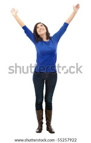 Successful woman with arms up isolated over a white background - stock photo
