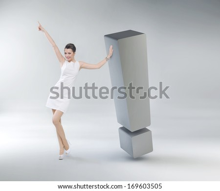 Successful woman with exclamation mark - stock photo