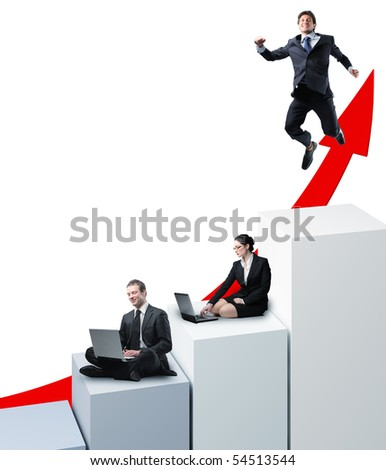 successful work team on 3d virtual graph stat - stock photo