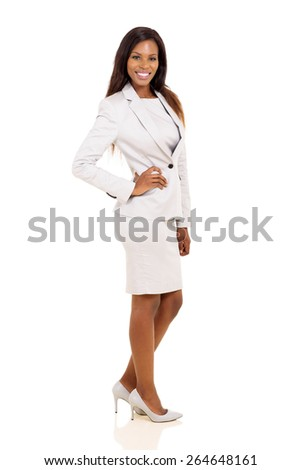 successful young african american corporate worker posing on white background - stock photo
