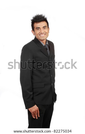 successful young arabic businessman smiling - stock photo